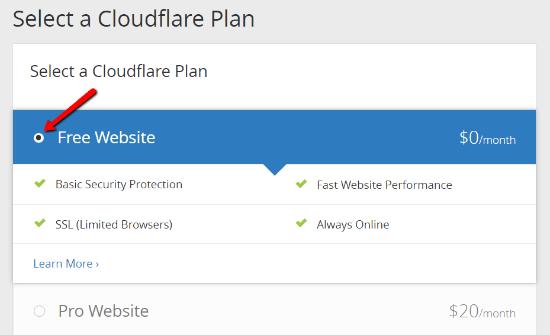 انتخاب پلن کلود فلیر cloudflare