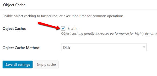 فعال کردن قسمت object cache