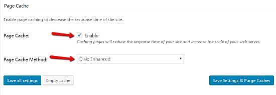 فعال کردن قسمت page cache